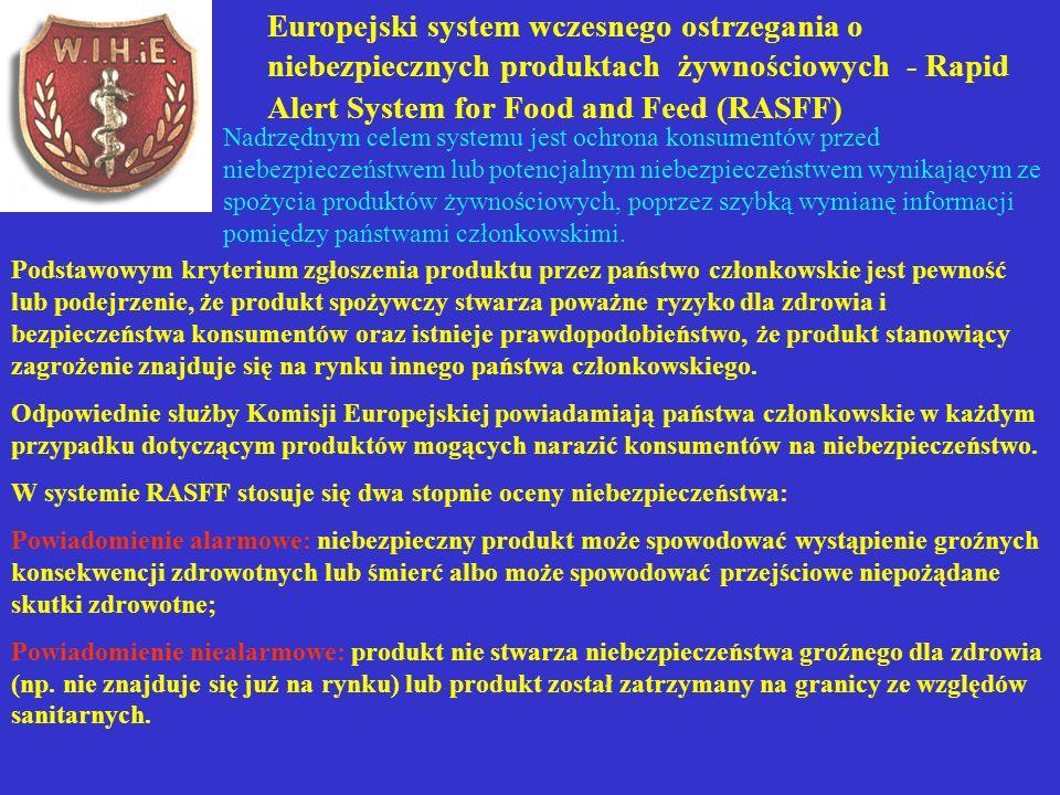 Europejski system wczesnego ostrzegania o niebezpiecznych produktach żywnościowych - Rapid Alert System for Food and Feed (RASFF) Nadrzędnym celem sys