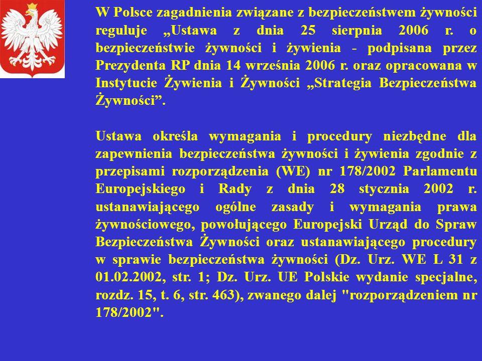 """W Polsce zagadnienia związane z bezpieczeństwem żywności reguluje """"Ustawa z dnia 25 sierpnia 2006 r. o bezpieczeństwie żywności i żywienia - podpisana"""