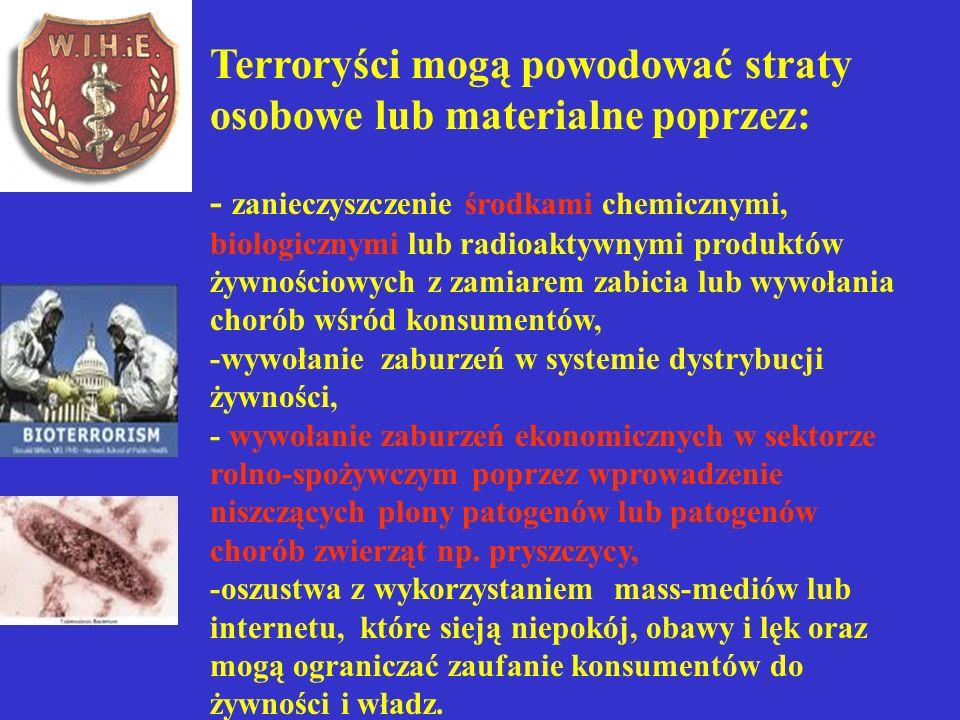 Terroryści mogą powodować straty osobowe lub materialne poprzez: - zanieczyszczenie środkami chemicznymi, biologicznymi lub radioaktywnymi produktów ż