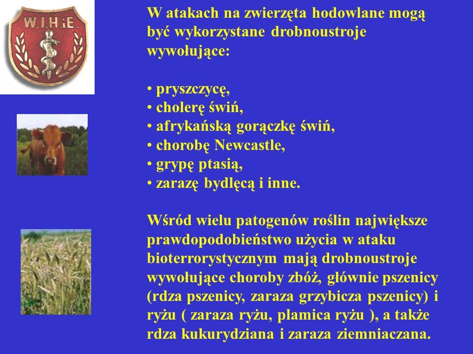 W atakach na zwierzęta hodowlane mogą być wykorzystane drobnoustroje wywołujące: pryszczycę, cholerę świń, afrykańską gorączkę świń, chorobę Newcastle