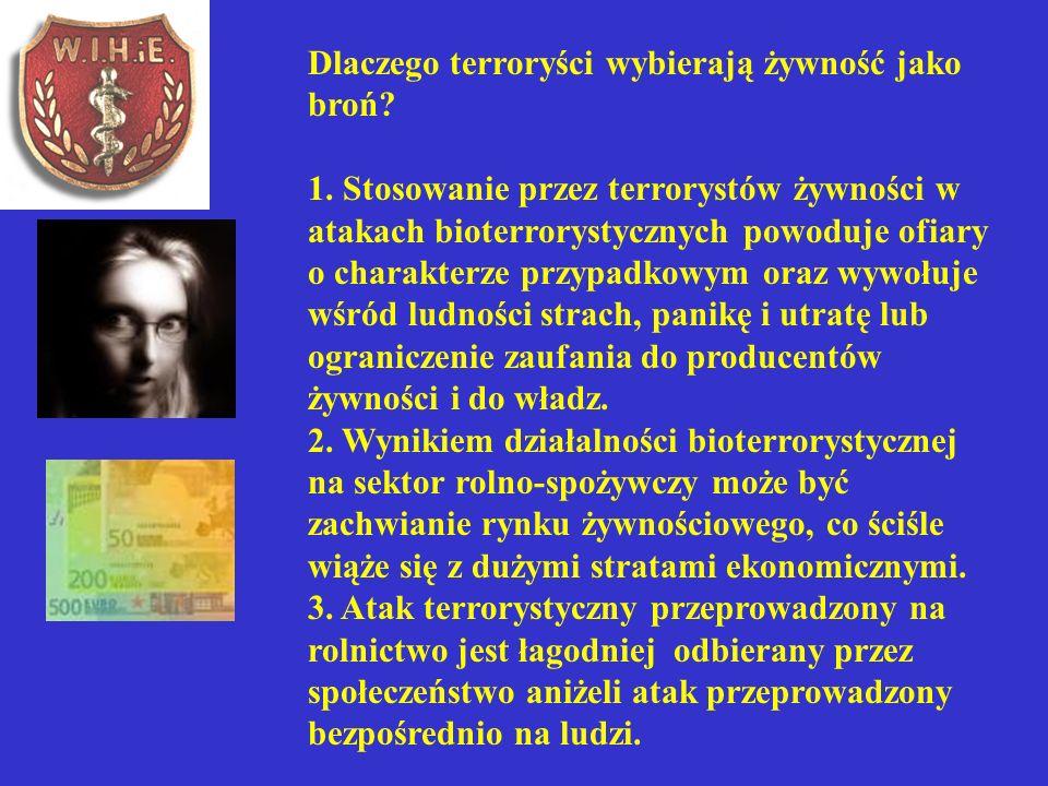 Dlaczego terroryści wybierają żywność jako broń? 1. Stosowanie przez terrorystów żywności w atakach bioterrorystycznych powoduje ofiary o charakterze