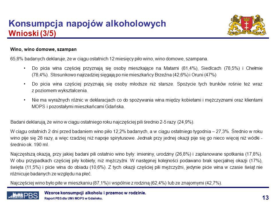 13 Wzorce konsumpcji alkoholu i przemoc w rodzinie.