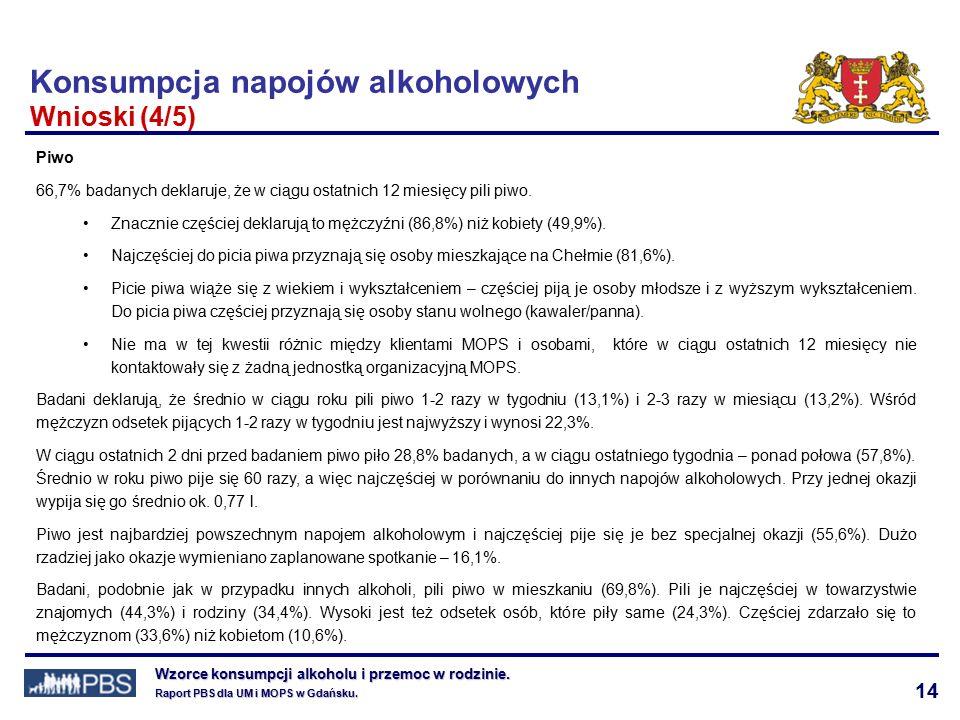 14 Wzorce konsumpcji alkoholu i przemoc w rodzinie.