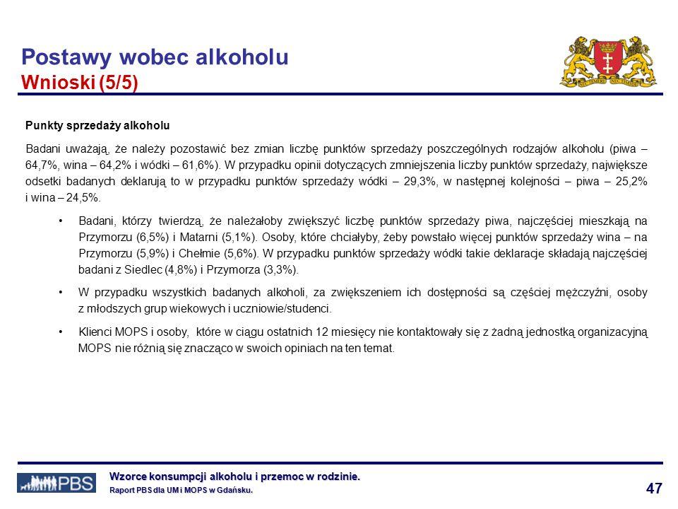 47 Wzorce konsumpcji alkoholu i przemoc w rodzinie.