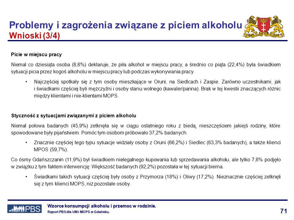 71 Wzorce konsumpcji alkoholu i przemoc w rodzinie.