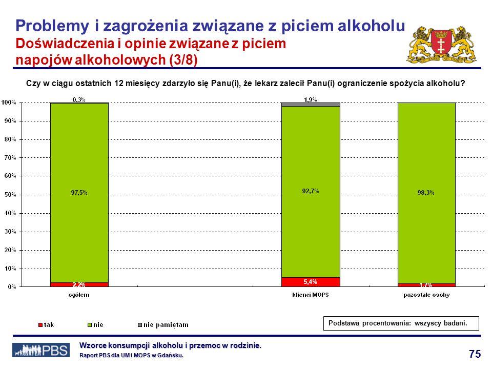 75 Wzorce konsumpcji alkoholu i przemoc w rodzinie.