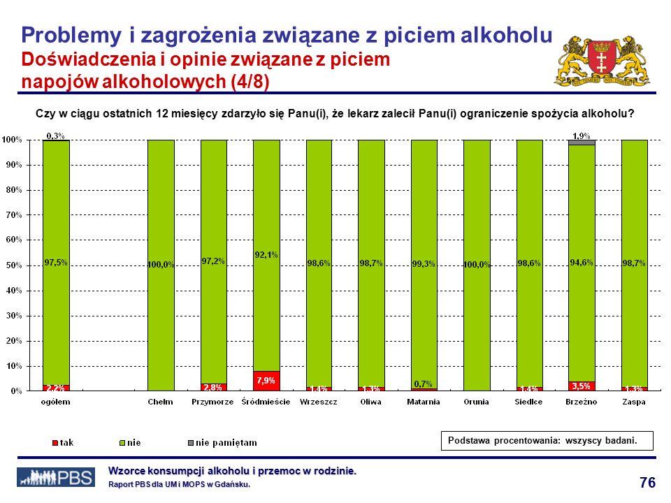 76 Wzorce konsumpcji alkoholu i przemoc w rodzinie.