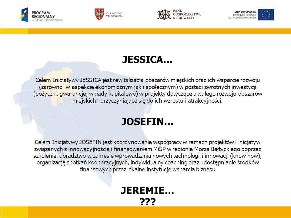 JESSICA… Celem Inicjatywy JESSICA jest rewitalizacja obszarów miejskich oraz ich wsparcie rozwoju (zarówno w aspekcie ekonomicznym jak i społecznym) w postaci zwrotnych inwestycji (pożyczki, gwarancje, wkłady kapitałowe) w projekty dotyczące trwałego rozwoju obszarów miejskich i przyczyniające się do ich wzrostu i atrakcyjności.