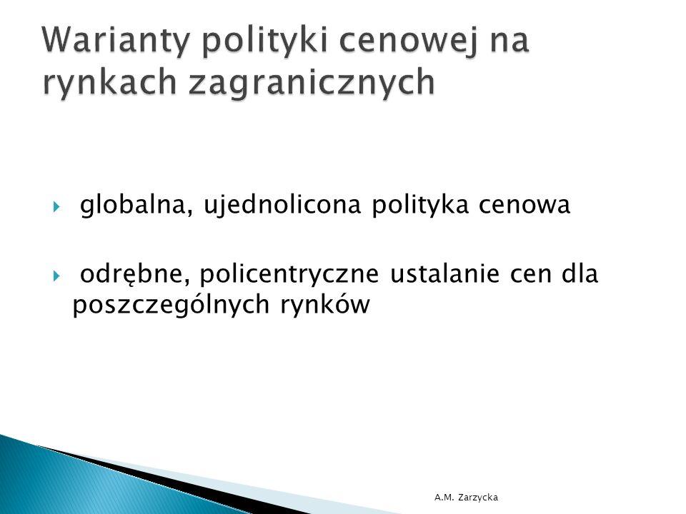  globalna, ujednolicona polityka cenowa  odrębne, policentryczne ustalanie cen dla poszczególnych rynków A.M. Zarzycka
