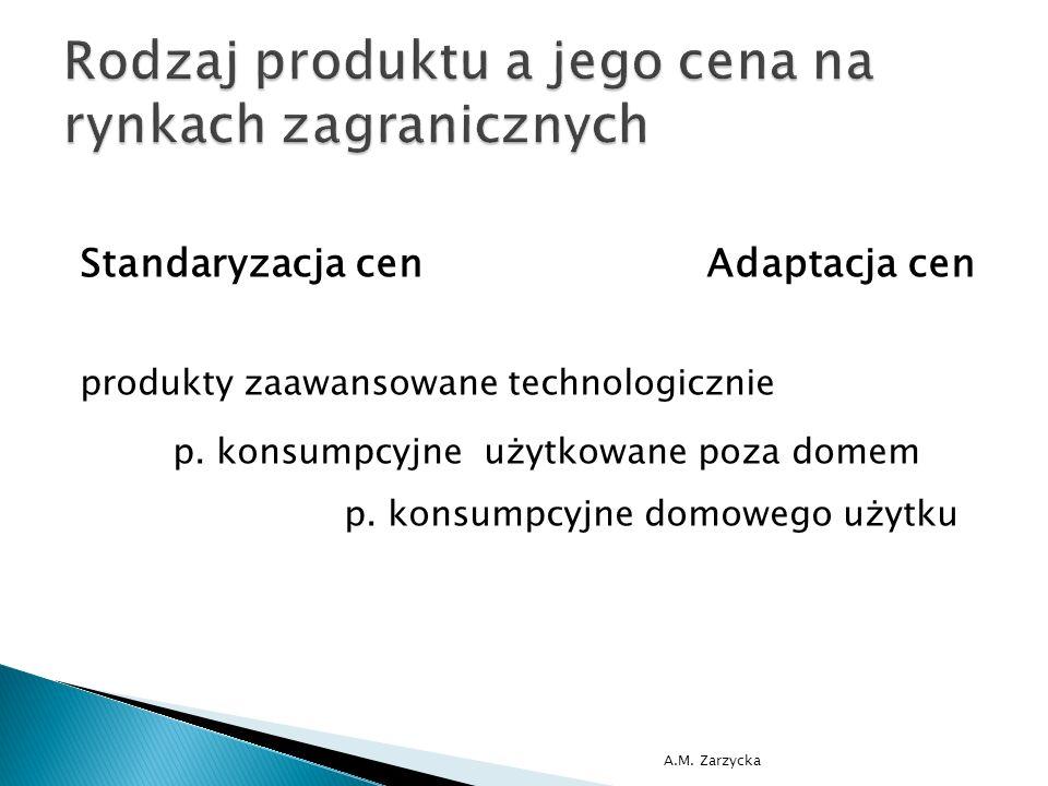 Standaryzacja cen Adaptacja cen produkty zaawansowane technologicznie p. konsumpcyjne użytkowane poza domem p. konsumpcyjne domowego użytku A.M. Zarzy