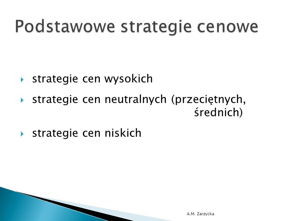  strategie cen wysokich  strategie cen neutralnych (przeciętnych, średnich)  strategie cen niskich A.M. Zarzycka