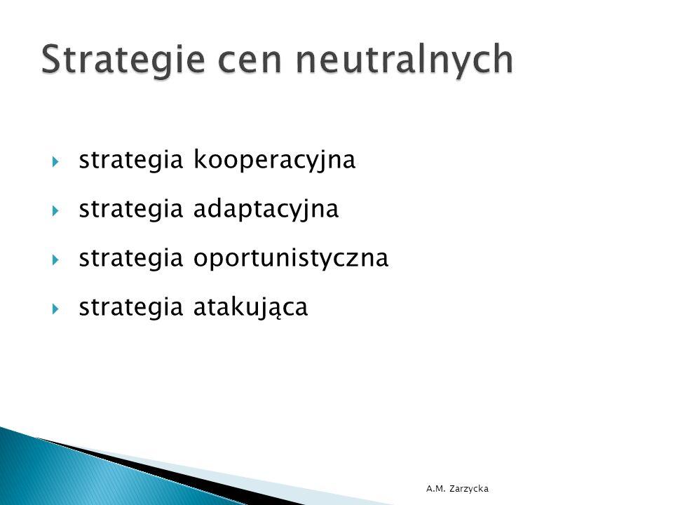  strategia zbierania śmietanki (skimming)  strategia cen prestiżowych A.M. Zarzycka