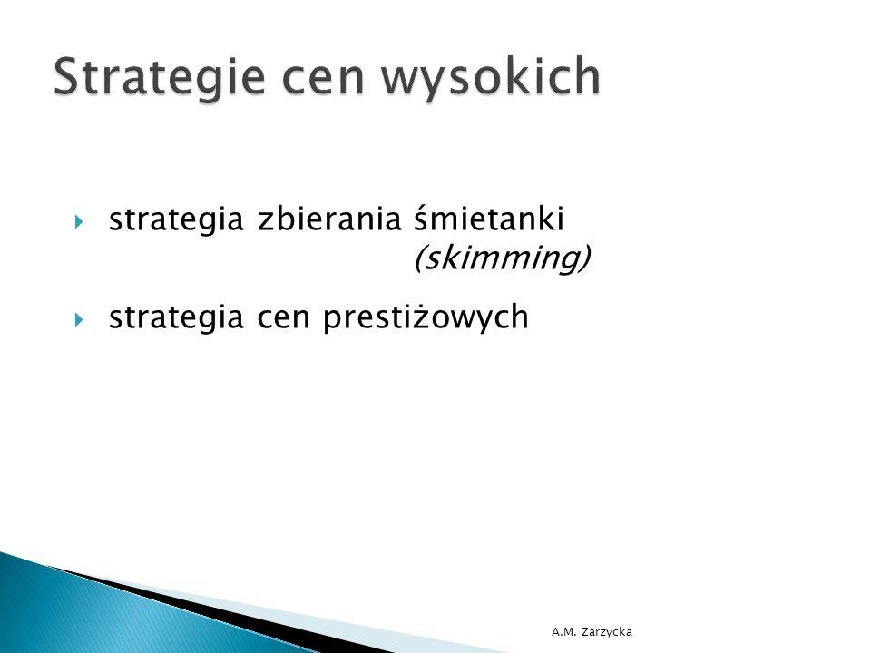  strategia dumpingu  strategia dominacji  strategia parasola  strategia przechwycenia  strategia porzucenia  strategia penetracji rynku A.M.