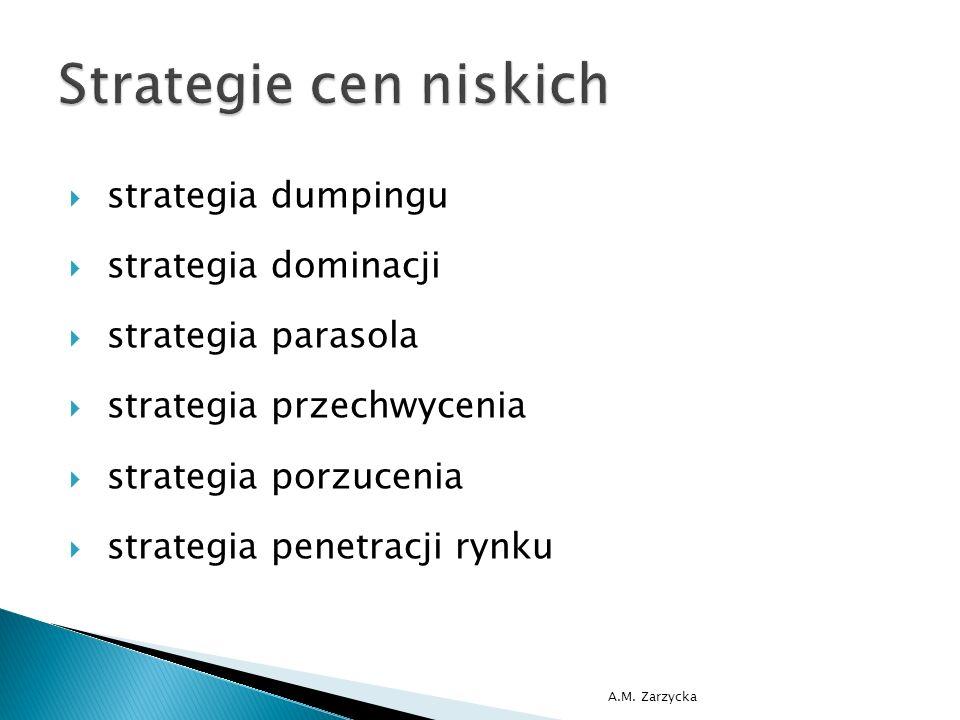  strategia dumpingu  strategia dominacji  strategia parasola  strategia przechwycenia  strategia porzucenia  strategia penetracji rynku A.M. Zar