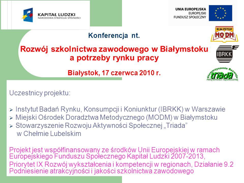 Konferencja nt. Rozwój szkolnictwa zawodowego w Białymstoku a potrzeby rynku pracy Białystok, 17 czerwca 2010 r. Uczestnicy projektu:  Instytut Badań