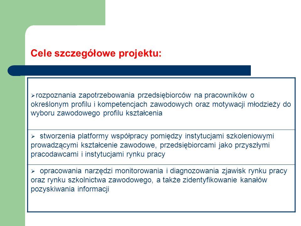 Cele szczegółowe projektu:  rozpoznania zapotrzebowania przedsiębiorców na pracowników o określonym profilu i kompetencjach zawodowych oraz motywacji młodzieży do wyboru zawodowego profilu kształcenia  stworzenia platformy współpracy pomiędzy instytucjami szkoleniowymi prowadzącymi kształcenie zawodowe, przedsiębiorcami jako przyszłymi pracodawcami i instytucjami rynku pracy  opracowania narzędzi monitorowania i diagnozowania zjawisk rynku pracy oraz rynku szkolnictwa zawodowego, a także zidentyfikowanie kanałów pozyskiwania informacji