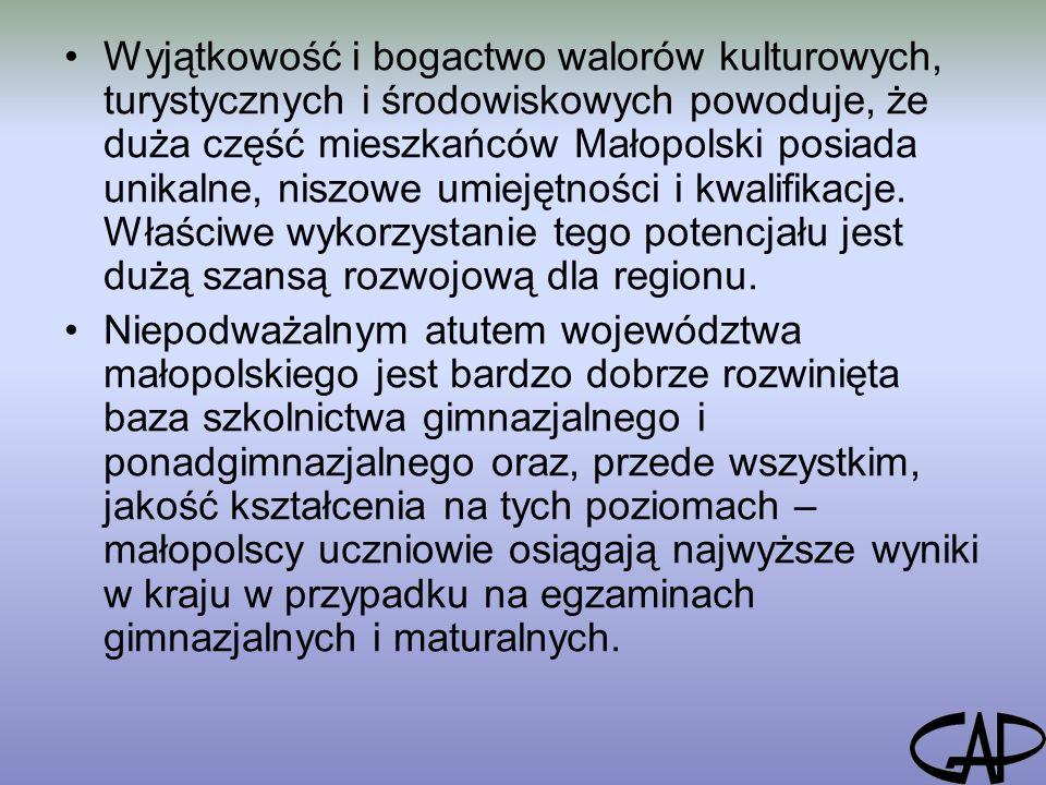 Wyjątkowość i bogactwo walorów kulturowych, turystycznych i środowiskowych powoduje, że duża część mieszkańców Małopolski posiada unikalne, niszowe umiejętności i kwalifikacje.