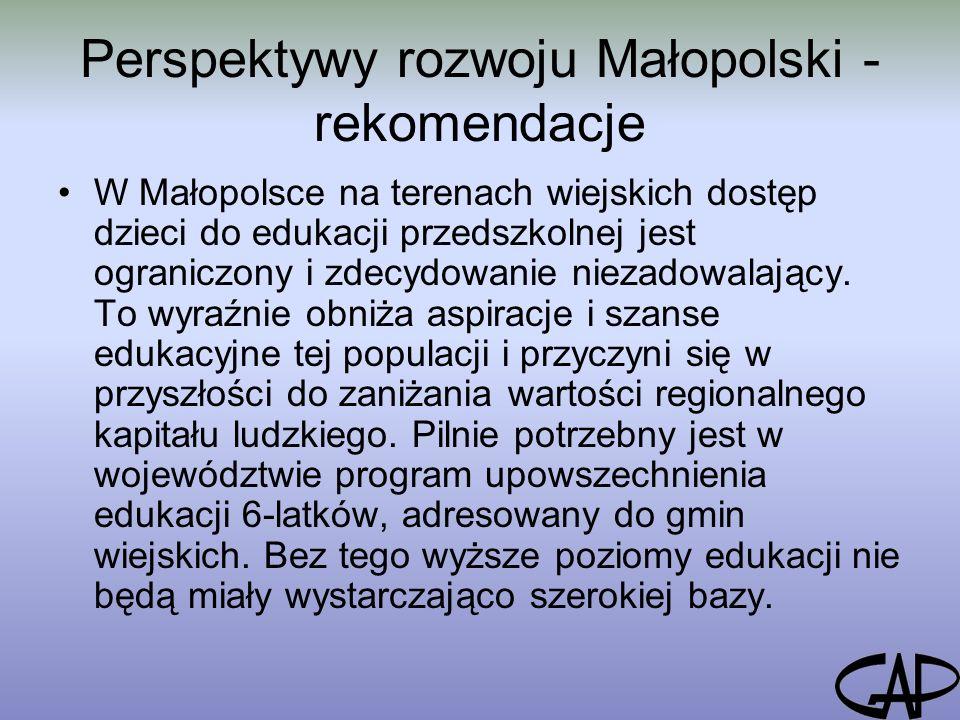 Perspektywy rozwoju Małopolski - rekomendacje W Małopolsce na terenach wiejskich dostęp dzieci do edukacji przedszkolnej jest ograniczony i zdecydowanie niezadowalający.