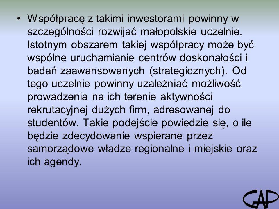 Współpracę z takimi inwestorami powinny w szczególności rozwijać małopolskie uczelnie.