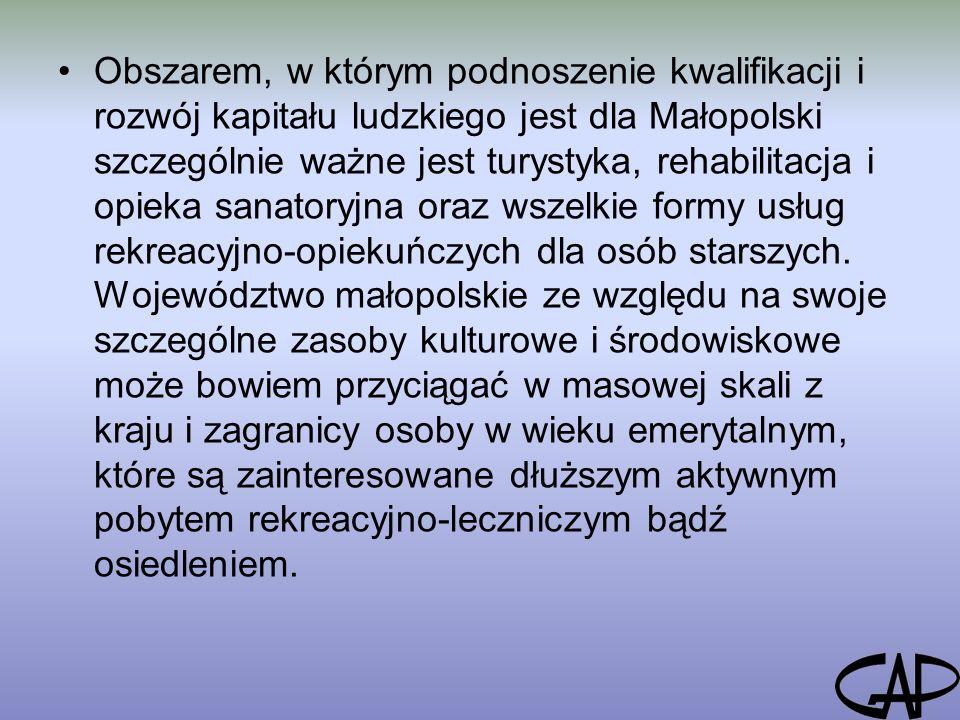 Obszarem, w którym podnoszenie kwalifikacji i rozwój kapitału ludzkiego jest dla Małopolski szczególnie ważne jest turystyka, rehabilitacja i opieka sanatoryjna oraz wszelkie formy usług rekreacyjno-opiekuńczych dla osób starszych.
