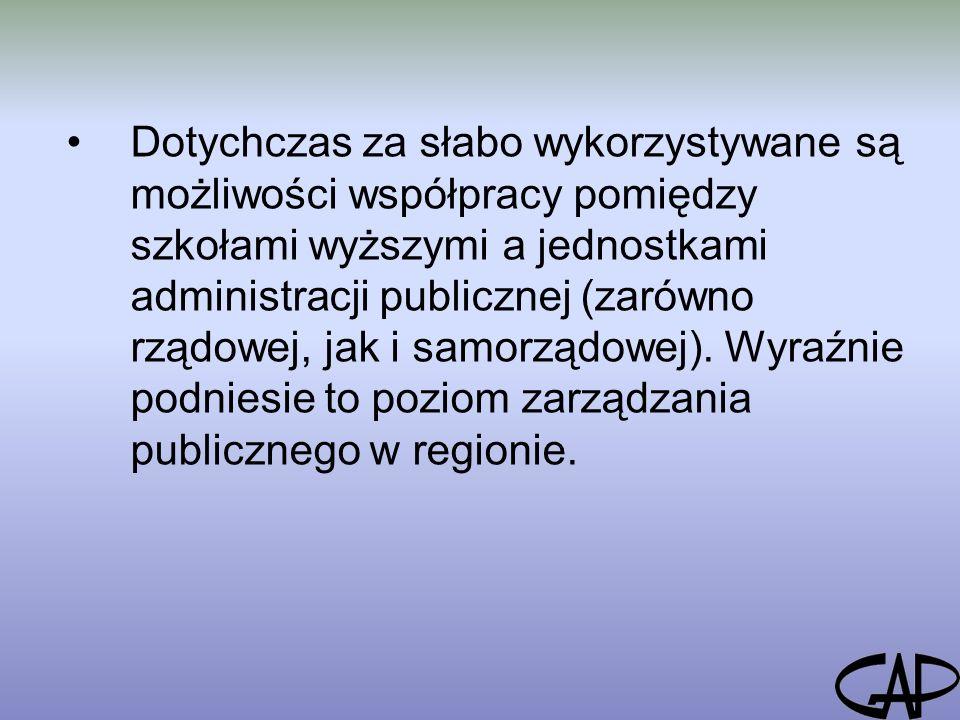 Dotychczas za słabo wykorzystywane są możliwości współpracy pomiędzy szkołami wyższymi a jednostkami administracji publicznej (zarówno rządowej, jak i samorządowej).