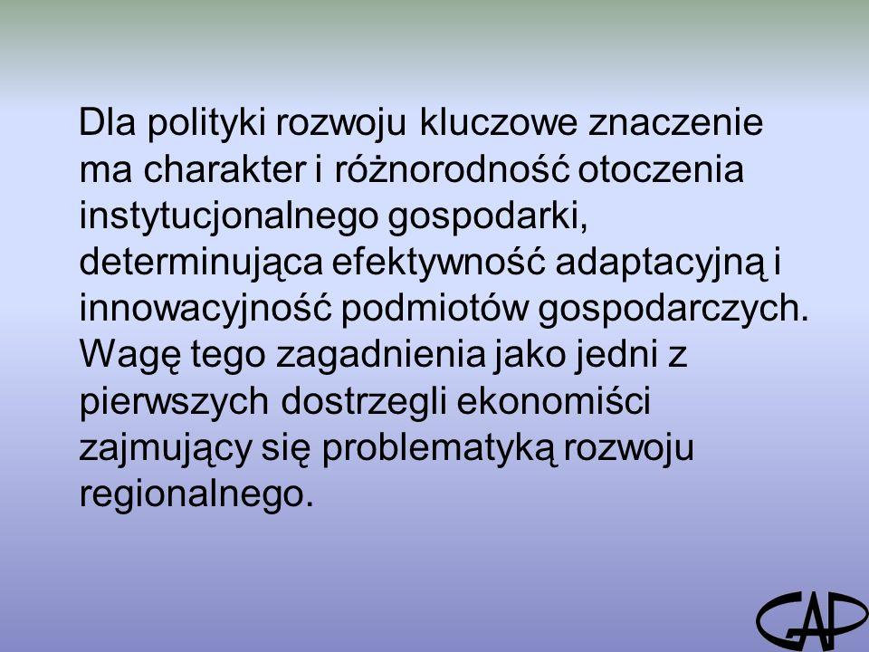 Dla polityki rozwoju kluczowe znaczenie ma charakter i różnorodność otoczenia instytucjonalnego gospodarki, determinująca efektywność adaptacyjną i innowacyjność podmiotów gospodarczych.