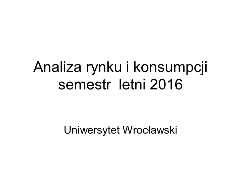 Analiza rynku i konsumpcji semestr letni 2016 Uniwersytet Wrocławski