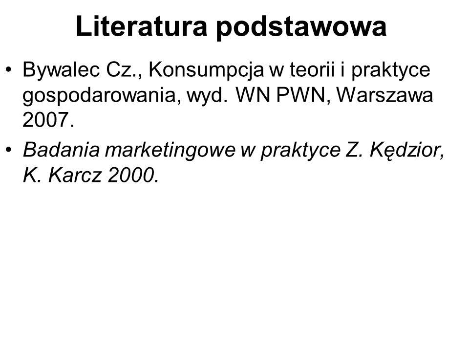 Literatura podstawowa Bywalec Cz., Konsumpcja w teorii i praktyce gospodarowania, wyd.