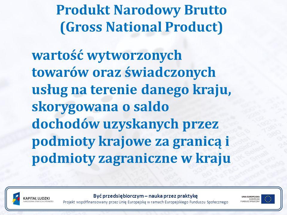 Być przedsiębiorczym – nauka przez praktykę Projekt współfinansowany przez Unię Europejską w ramach Europejskiego Funduszu Społecznego Produkt Narodow