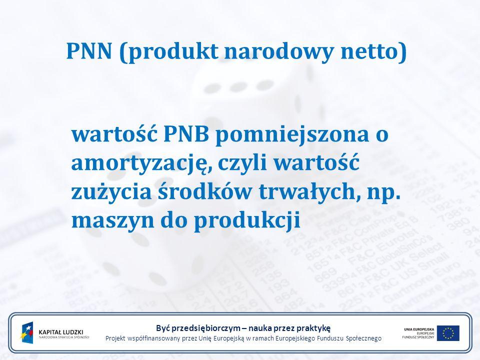 Być przedsiębiorczym – nauka przez praktykę Projekt współfinansowany przez Unię Europejską w ramach Europejskiego Funduszu Społecznego PNN (produkt na