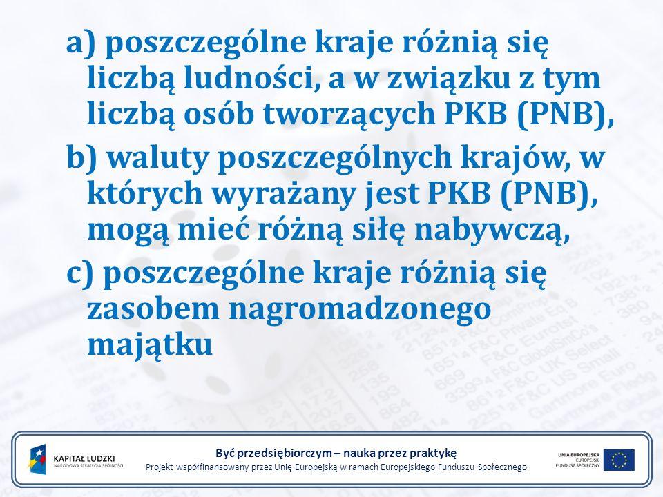 a) poszczególne kraje różnią się liczbą ludności, a w związku z tym liczbą osób tworzących PKB (PNB), b) waluty poszczególnych krajów, w których wyraż
