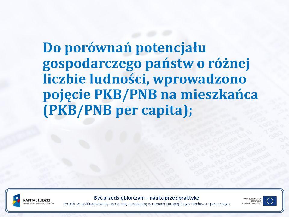 Do porównań potencjału gospodarczego państw o różnej liczbie ludności, wprowadzono pojęcie PKB/PNB na mieszkańca (PKB/PNB per capita); Być przedsiębio