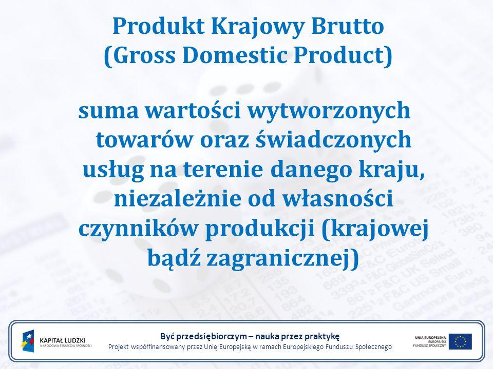 Być przedsiębiorczym – nauka przez praktykę Projekt współfinansowany przez Unię Europejską w ramach Europejskiego Funduszu Społecznego Produkt Krajowy