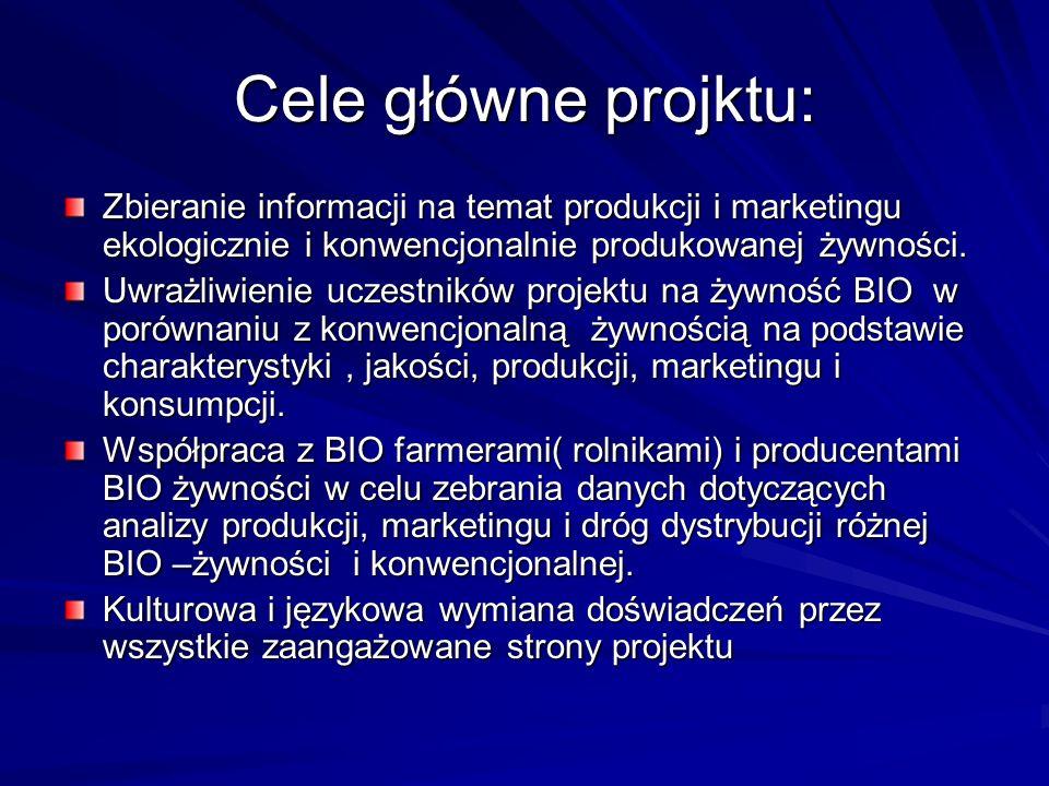 Cele główne projktu: Zbieranie informacji na temat produkcji i marketingu ekologicznie i konwencjonalnie produkowanej żywności. Uwrażliwienie uczestni