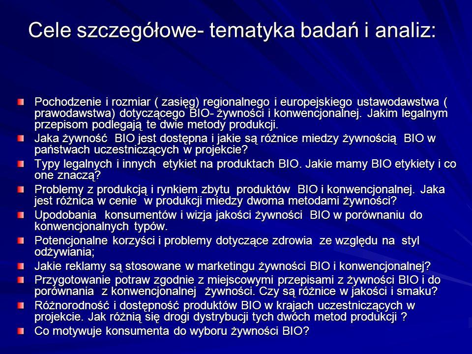 Cele szczegółowe- tematyka badań i analiz: Pochodzenie i rozmiar ( zasięg) regionalnego i europejskiego ustawodawstwa ( prawodawstwa) dotyczącego BIO- żywności i konwencjonalnej.