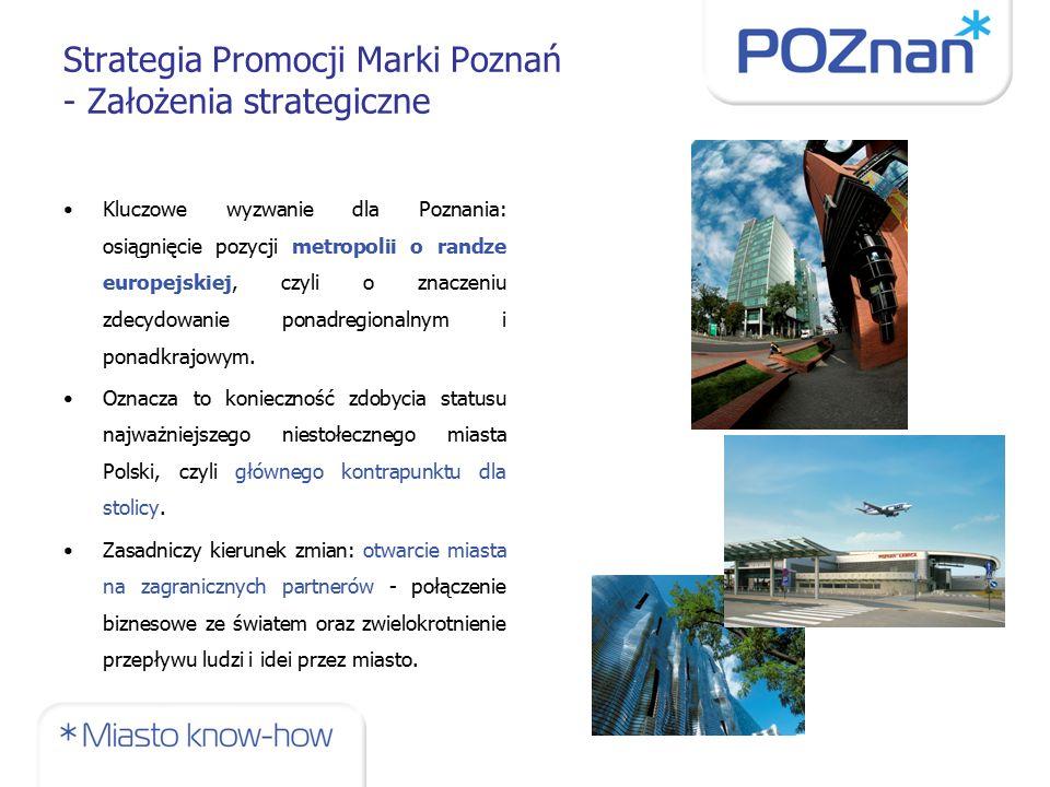 Strategia Promocji Marki Poznań - Założenia strategiczne Kluczowe wyzwanie dla Poznania: osiągnięcie pozycji metropolii o randze europejskiej, czyli o znaczeniu zdecydowanie ponadregionalnym i ponadkrajowym.