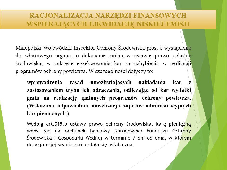Małopolski Wojewódzki Inspektor Ochrony Środowiska prosi o wystąpienie do właściwego organu, o dokonanie zmian w ustawie prawo ochrony środowiska, w zakresie egzekwowania kar za uchybienia w realizacji programów ochrony powietrza.