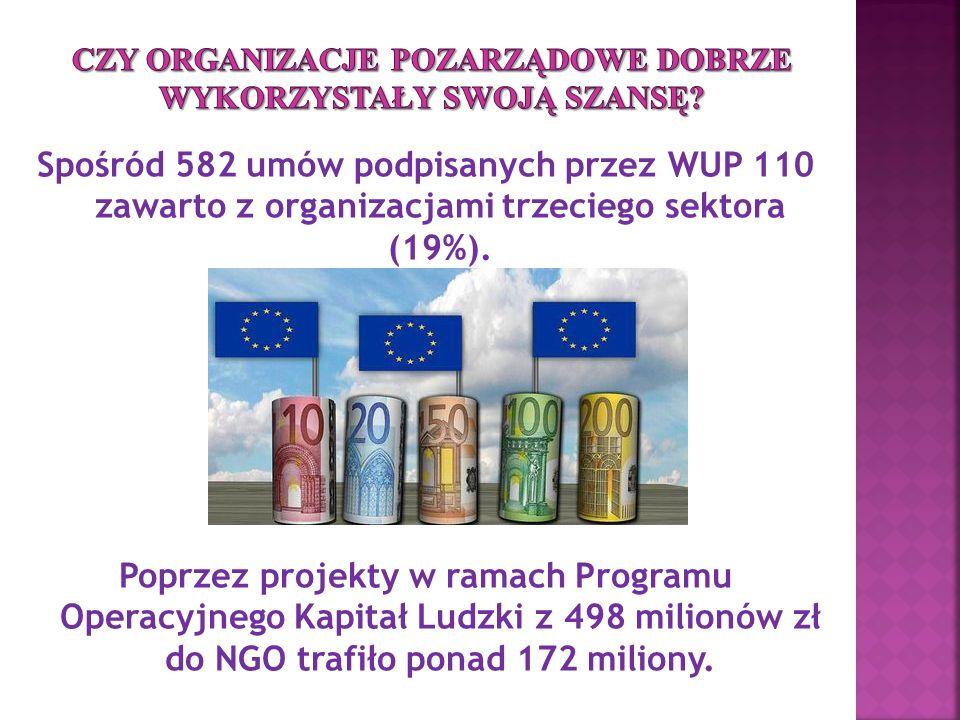 Spośród 582 umów podpisanych przez WUP 110 zawarto z organizacjami trzeciego sektora (19%).