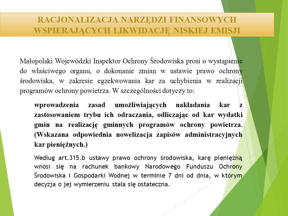 Małopolski Wojewódzki Inspektor Ochrony Środowiska prosi o wystąpienie do właściwego organu, o dokonanie zmian w ustawie prawo ochrony środowiska, w z