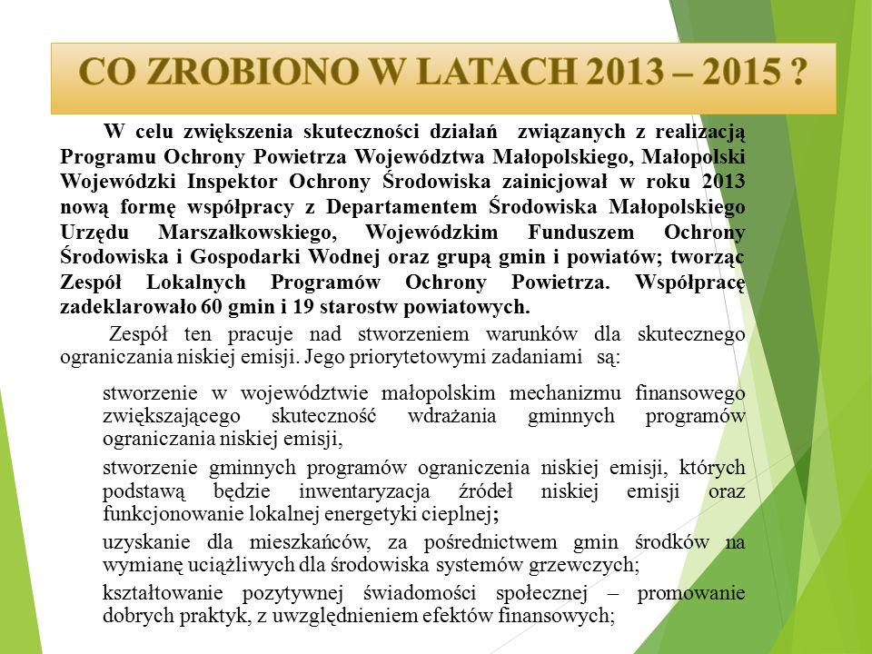 W celu zwiększenia skuteczności działań związanych z realizacją Programu Ochrony Powietrza Województwa Małopolskiego, Małopolski Wojewódzki Inspektor