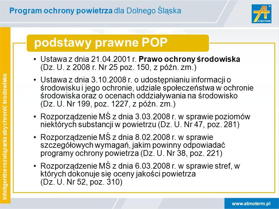 www.atmoterm.pl Inteligentne rozwiązania aby chronić środowisko Program ochrony powietrza dla Dolnego Śląska Ustawa z dnia 21.04.2001 r.