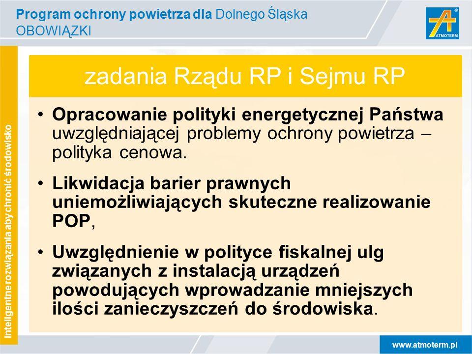 www.atmoterm.pl Inteligentne rozwiązania aby chronić środowisko zadania Rządu RP i Sejmu RP Opracowanie polityki energetycznej Państwa uwzględniającej problemy ochrony powietrza – polityka cenowa.