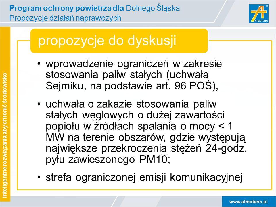 www.atmoterm.pl Inteligentne rozwiązania aby chronić środowisko wprowadzenie ograniczeń w zakresie stosowania paliw stałych (uchwała Sejmiku, na podstawie art.