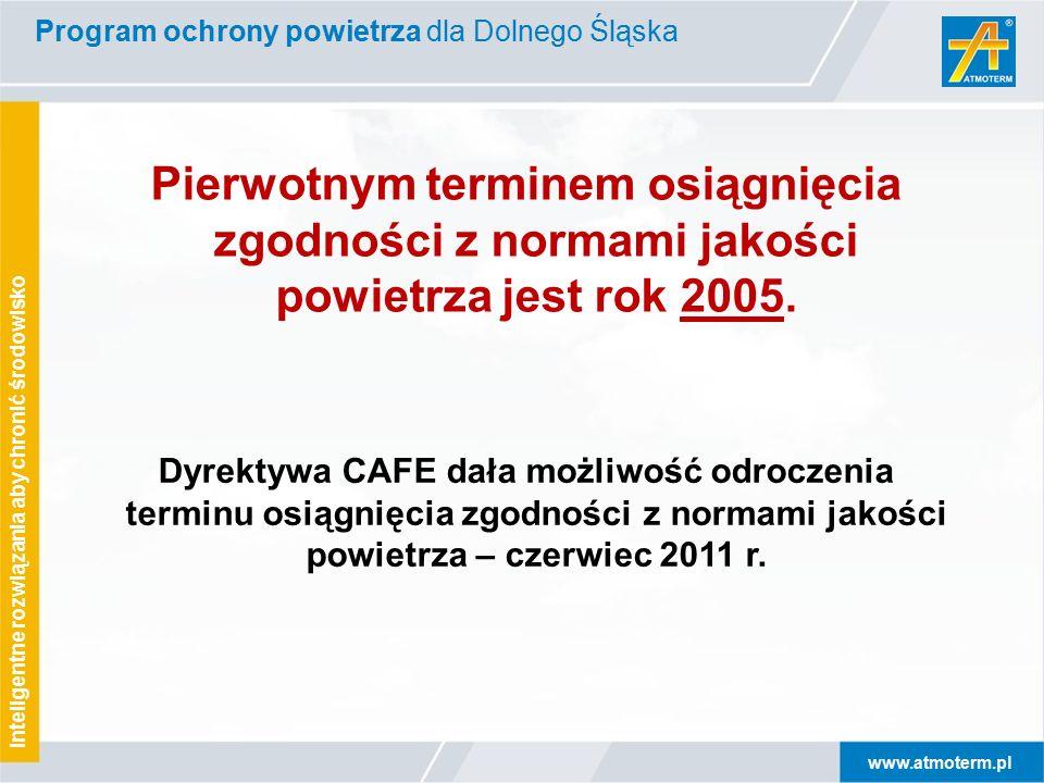 www.atmoterm.pl Inteligentne rozwiązania aby chronić środowisko Dyrektywa CAFE dała możliwość odroczenia terminu osiągnięcia zgodności z normami jakości powietrza – czerwiec 2011 r.
