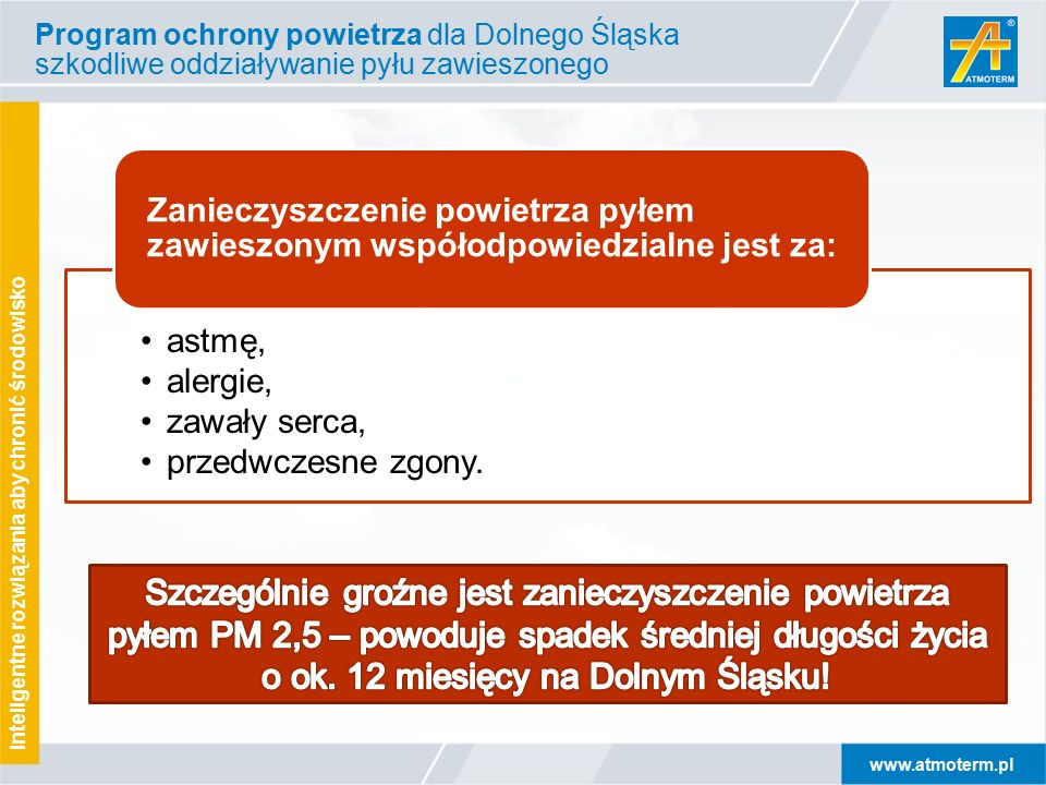 www.atmoterm.pl Inteligentne rozwiązania aby chronić środowisko Program ochrony powietrza dla Dolnego Śląska szkodliwe oddziaływanie pyłu zawieszonego astmę, alergie, zawały serca, przedwczesne zgony.