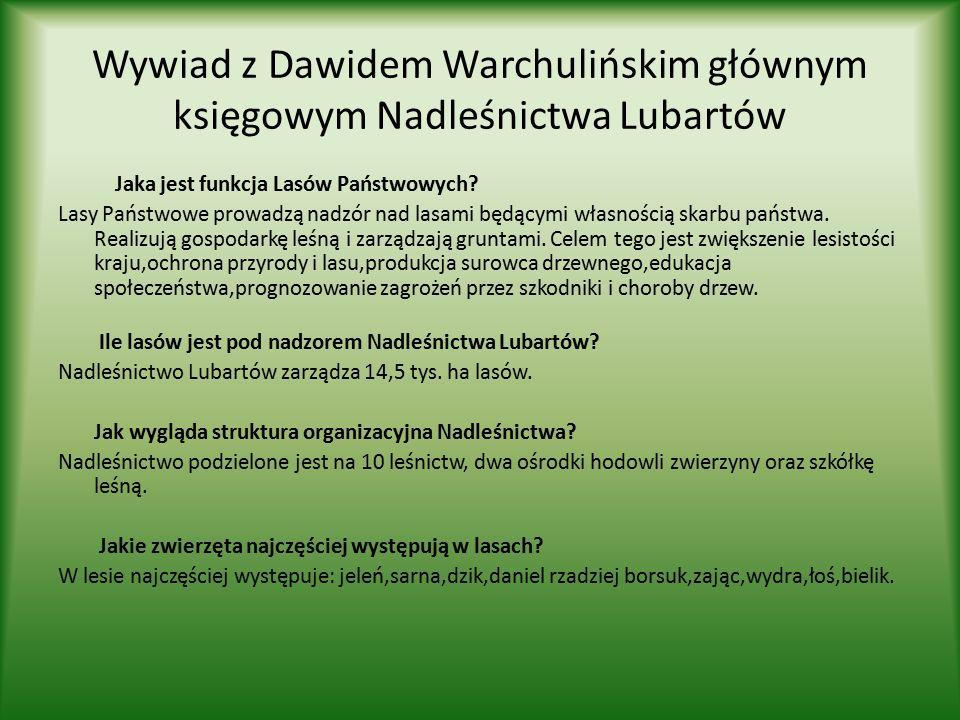Wywiad z Dawidem Warchulińskim głównym księgowym Nadleśnictwa Lubartów Jaka jest funkcja Lasów Państwowych.
