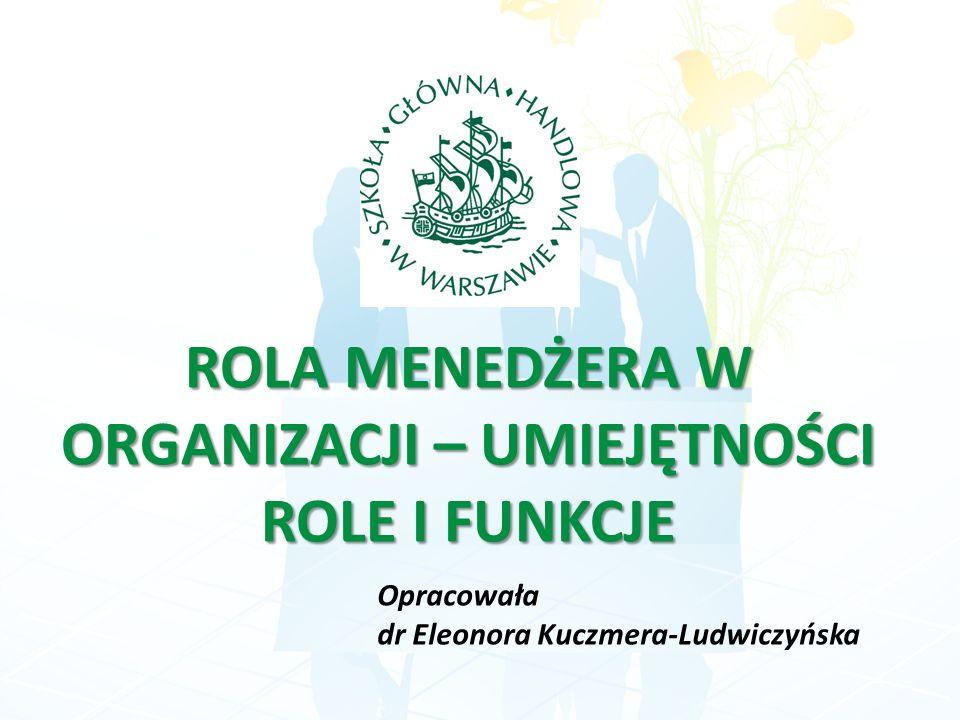 ROLA MENEDŻERA W ORGANIZACJI – UMIEJĘTNOŚCI ROLE I FUNKCJE Opracowała dr Eleonora Kuczmera-Ludwiczyńska