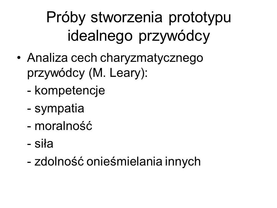 Próby stworzenia prototypu idealnego przywódcy Analiza cech charyzmatycznego przywódcy (M. Leary): - kompetencje - sympatia - moralność - siła - zdoln