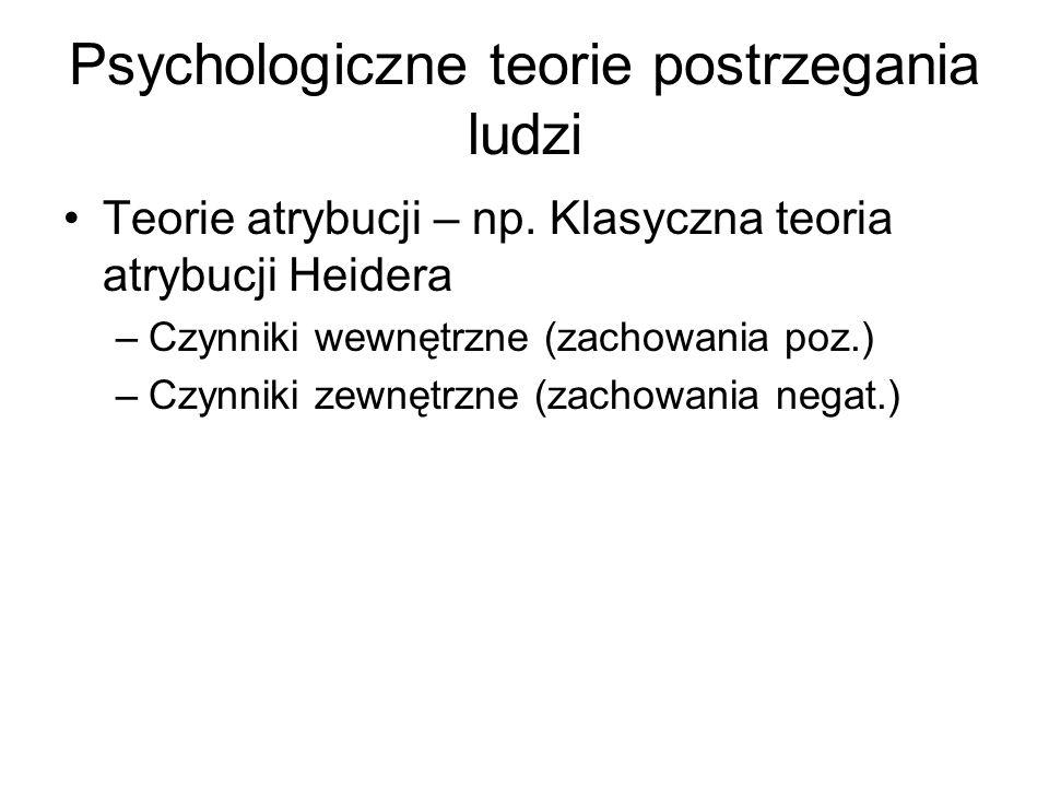 Psychologiczne teorie postrzegania ludzi Teorie atrybucji – np. Klasyczna teoria atrybucji Heidera –Czynniki wewnętrzne (zachowania poz.) –Czynniki ze