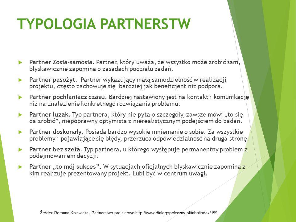 TYPOLOGIA PARTNERSTW  Partner Zosia-samosia. Partner, który uważa, że wszystko może zrobić sam, błyskawicznie zapomina o zasadach podziału zadań.  P